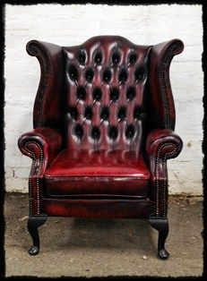 White Leather Sofa Head of the house chair Leather Oxblood Button Back Wing Arm Chair