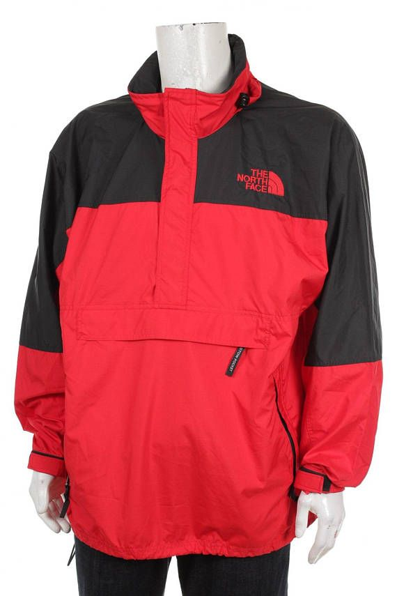eaa8defc8f11 Vintage 90s The North Face Hydrenaline Lightweight Hooded Pullover Jacket  Red   Black Size L