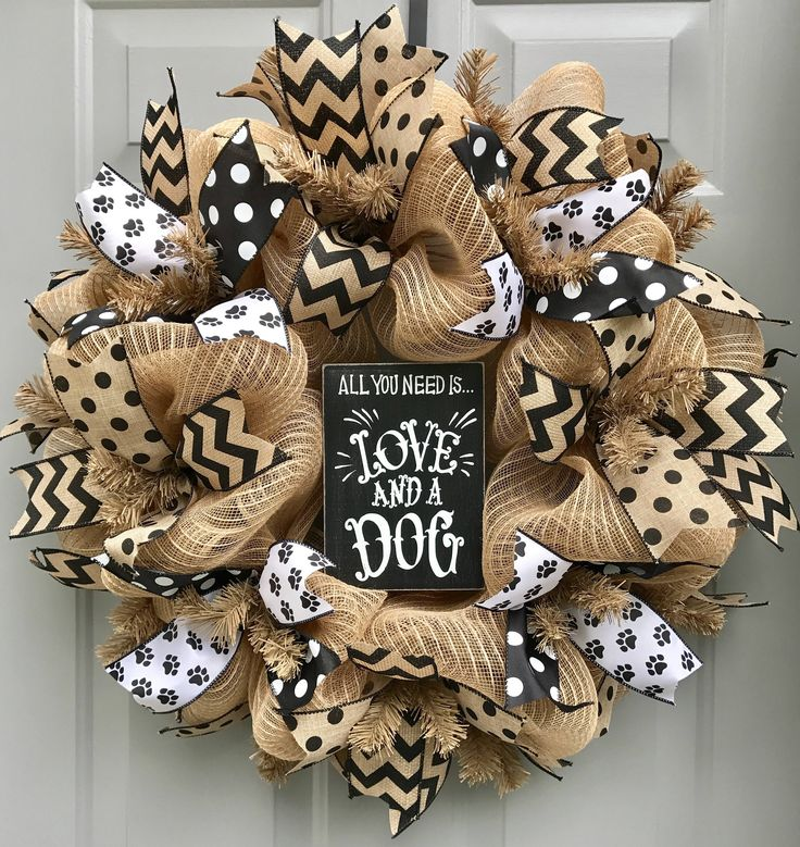 All You Need is Love and A Dog Burlap Deco Mesh Wreath