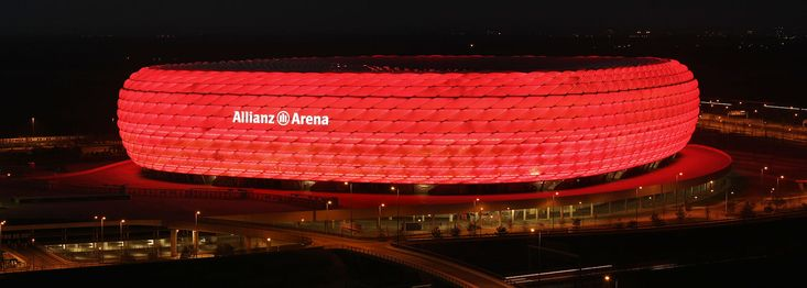For Bayern home games, the Allianz Arena is lit in red.