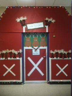 Reindeer Stable Decoration Christmas Door Reindeer