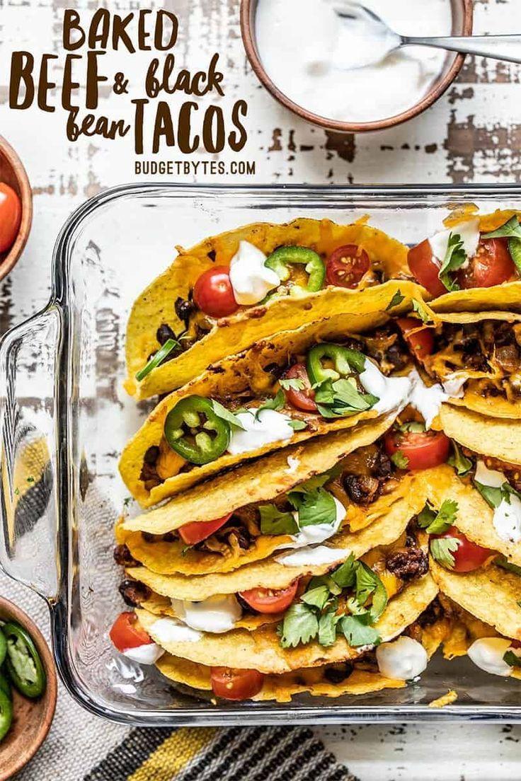 Crispy Baked Beef And Black Bean Tacos Recipe Easy Weeknight Meals Bean Tacos Recipes