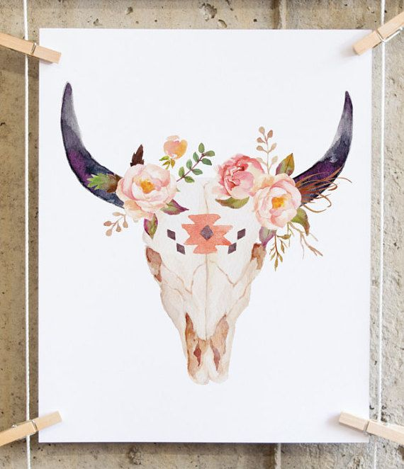 Instant download: Elegant Watercolor Floral Skull ***Get free prints, Promo codes for digital prints available in the shop Announcement.***