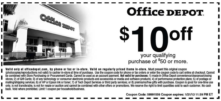 Office Depot 10 off 50 Printable Coupon Home depot