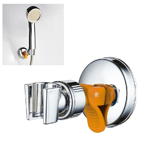 Adjustable Shower Head Holder With Suction Cup Chrome Bracket. Descriptions: Adjustable Shower Head Holder with Suction Cup Chrome Bracket Material: ABS PP Color: Sliver & Orange Dimension: 106*70mm (L*Dia.) Maximum Weight Bearing: 5KG  Features: It has an extra strong suction cap. Install and remove easily with the suction cup. Directly absorb to the wall without drilling hole. Shower head can be angled and rotated to the desired position.  Package Included: 1x Shower Head Holder