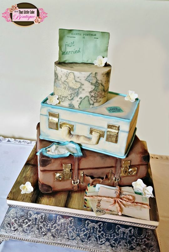 Vintage Travel Themed Wedding Cake - That Little Cake Boutique