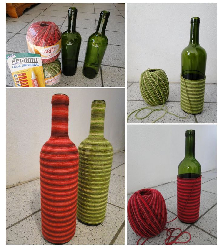 Bottles with yarn