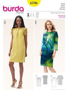 burda style: Schnitte Katalog - Kleider - Kleid – runder Ausschnitt mit Kräuseln – Spitzenbesatz