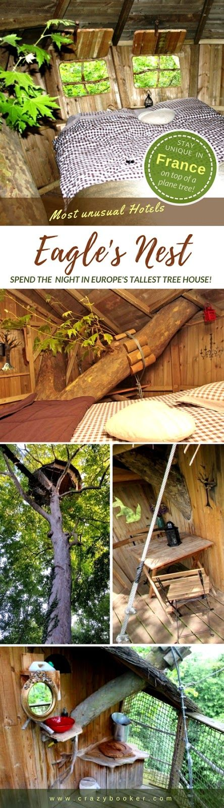Travel to Eagle's Nest in France | In the highest tree house of Normandy (and all of Europe) you really do sleep like birds in trees | The tree hut accommodates 2 people and offers stunning views of the lush scenery of Calvados | Easy access is provided via three suspension bridges and a ladder (only for adults without vertigo!) #treehouse #normandy #calvados