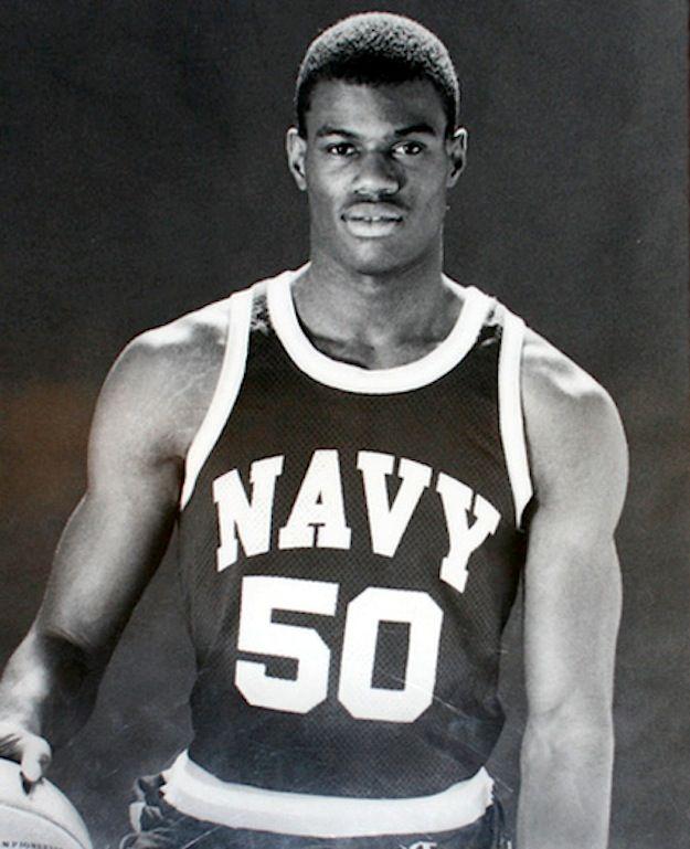 David Robinson aka The Admiral in college. #Navy