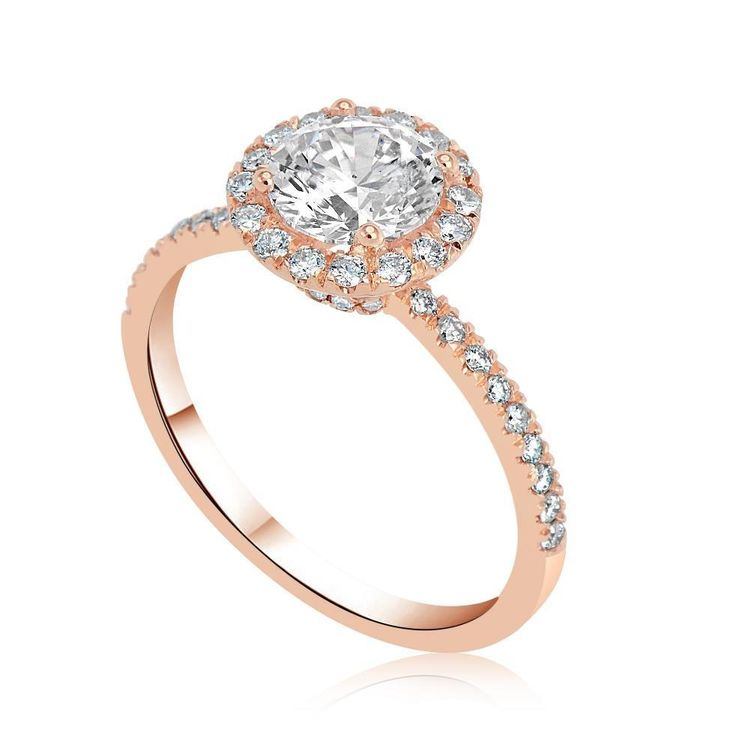 1.30 Ct D/VS1 Halo Round Cut Diamond Engagement Ring 14K Rose Gold Enhanced
