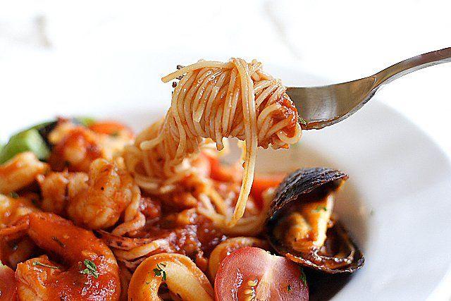 Angel Hair Pasta with Seafood Recipe - Florida rock shrimp, calamari ...