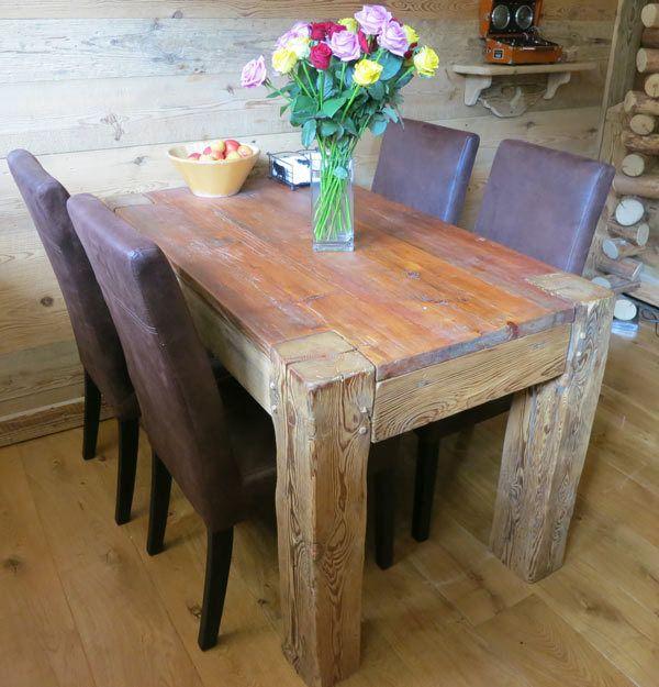 TABLE VIEUX BOIS 130-200 cm