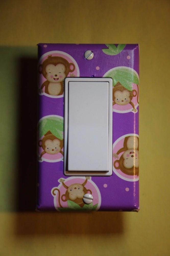 Purple Monkey Rocker GFI Light Switch Cover baby nursery newborn girl room decor #Unbranded