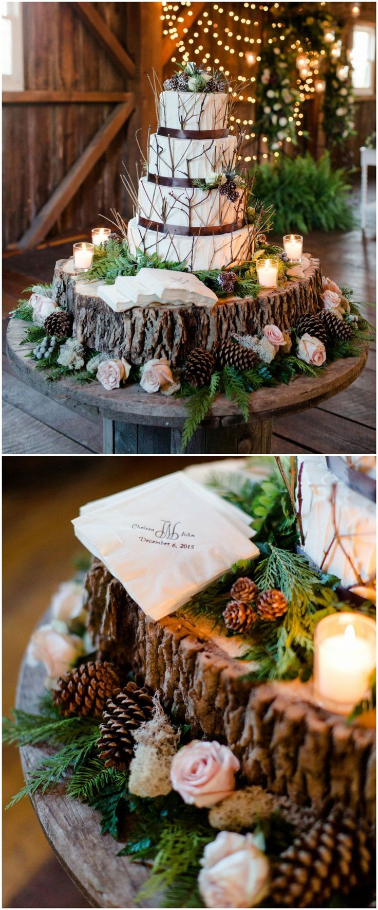 Rustic wedding cake, barn wedding reception, twigs, customized napkins, brown silk ribbons, pinecones, light pink roses // Ivan & Louise