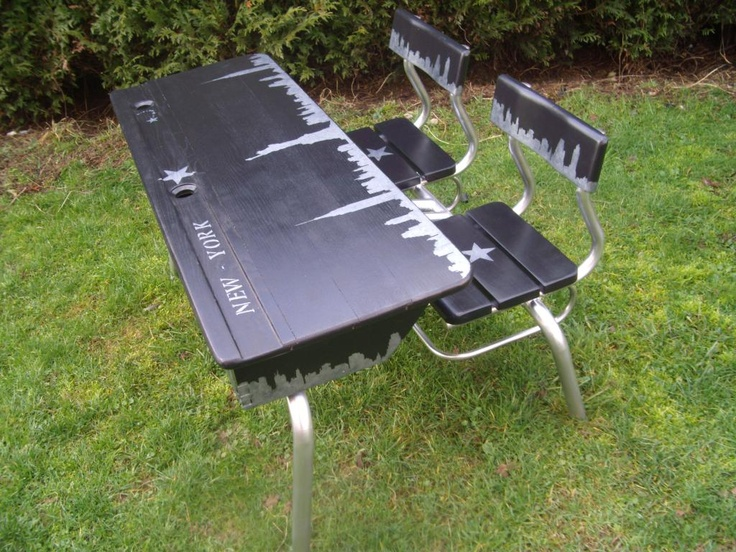 Table d 39 colier bureau relook ny relooking meubles - Bureau ecolier relooke ...