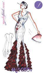 Descarga gratis el Vestido Flamenco de Escarolas MJ1055v