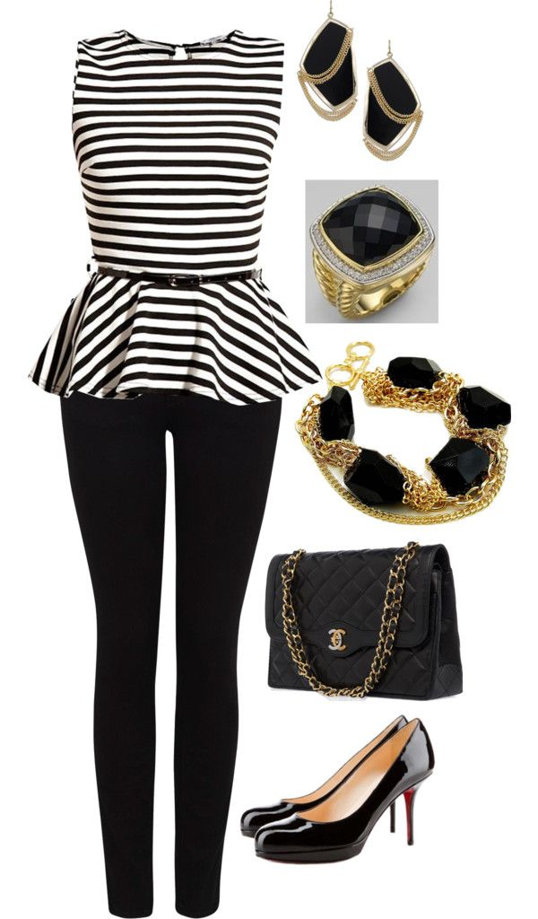 Wonder if I could pull off a peplum top?  Love this outfit