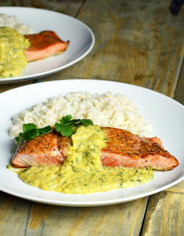Salmon with Mango Sauce and Coconut Rice