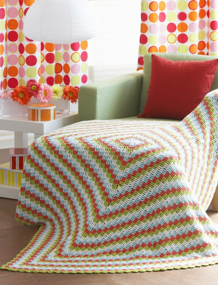 Yarnspirations.com - Lily Cottage Throw - Patterns  | Yarnspirations