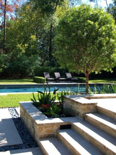 Stone garden edging pool love an open flat lawn for Pool garden edging