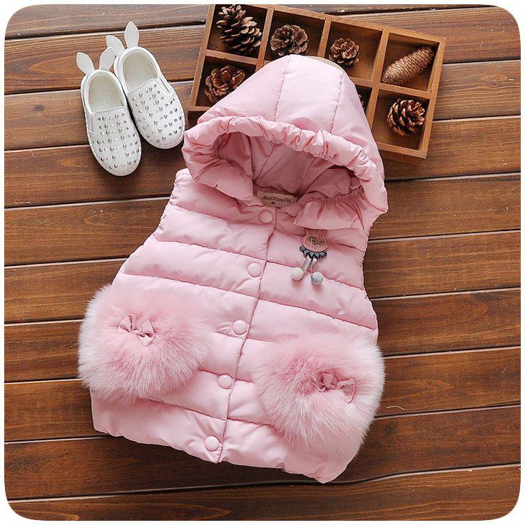 2016 новая зимняя детская одежда оптом новорожденных девочек жилет высокого качества с капюшоном купить на AliExpress