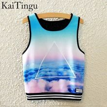 Kaitingu 2016 Brand New mode féminine manches Sky imprimer Crop Top Tops courts…