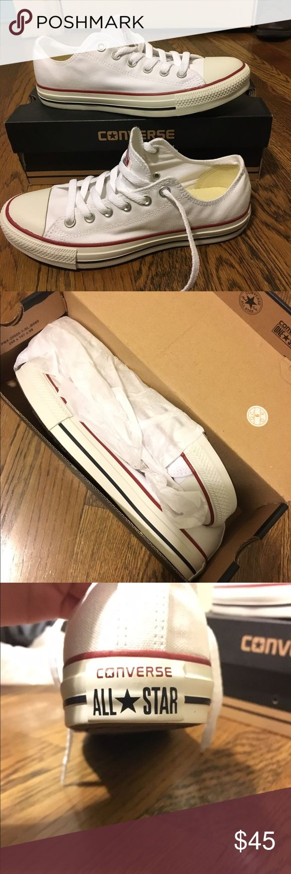 White Low Rise Converse- New in Box! Never worn- still in original box wrapped in tissue. They're just not my style, I need to get them to someone who will wear them and love them! Mens' 6.5, womens' 8.5. They will ship in original box. Make an offer! Converse Shoes Sneakers