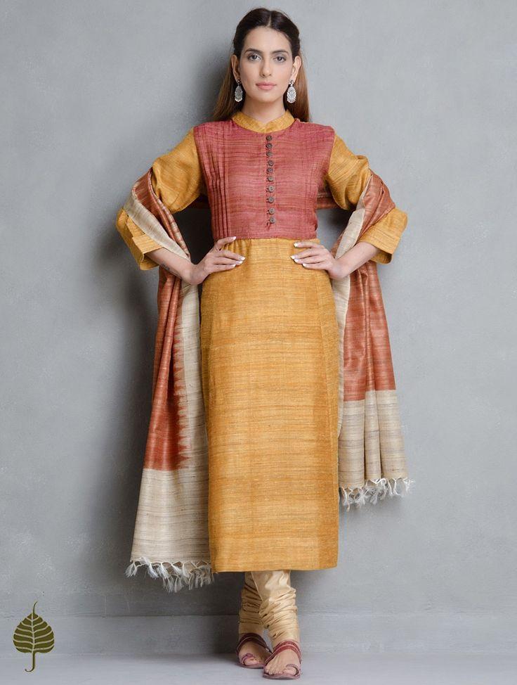 Buy Mustard Rust Tussar Gicha Pleated Neck Kurta by Jaypore Apparel Tunics & Kurtas Into the Wild Handwoven Tops Silk Cotton Pants Online at Jaypore.com