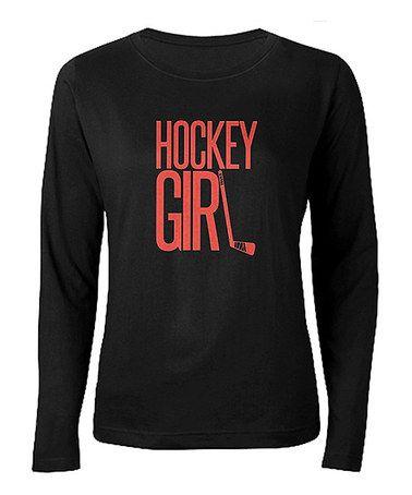 Black 'Hockey Girl' Tee - Women #zulily #zulilyfinds