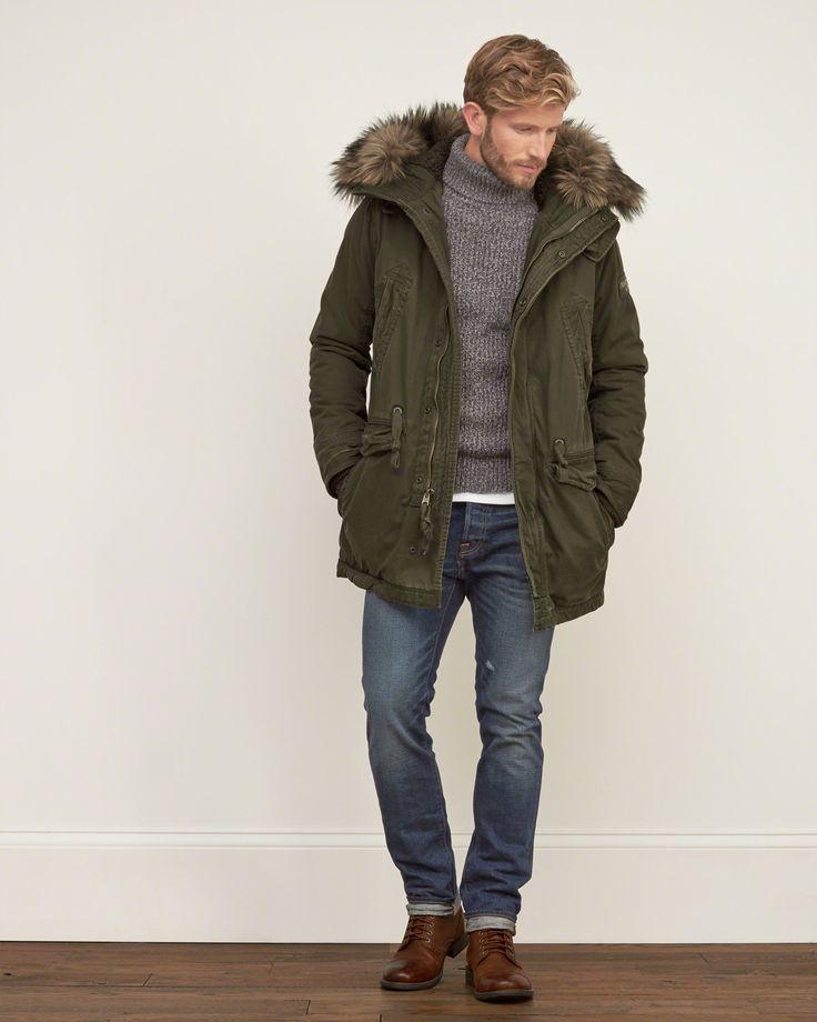 Mens Premium Sherpa Lined Parka | Mens Outerwear & Jackets | Abercrombie.com