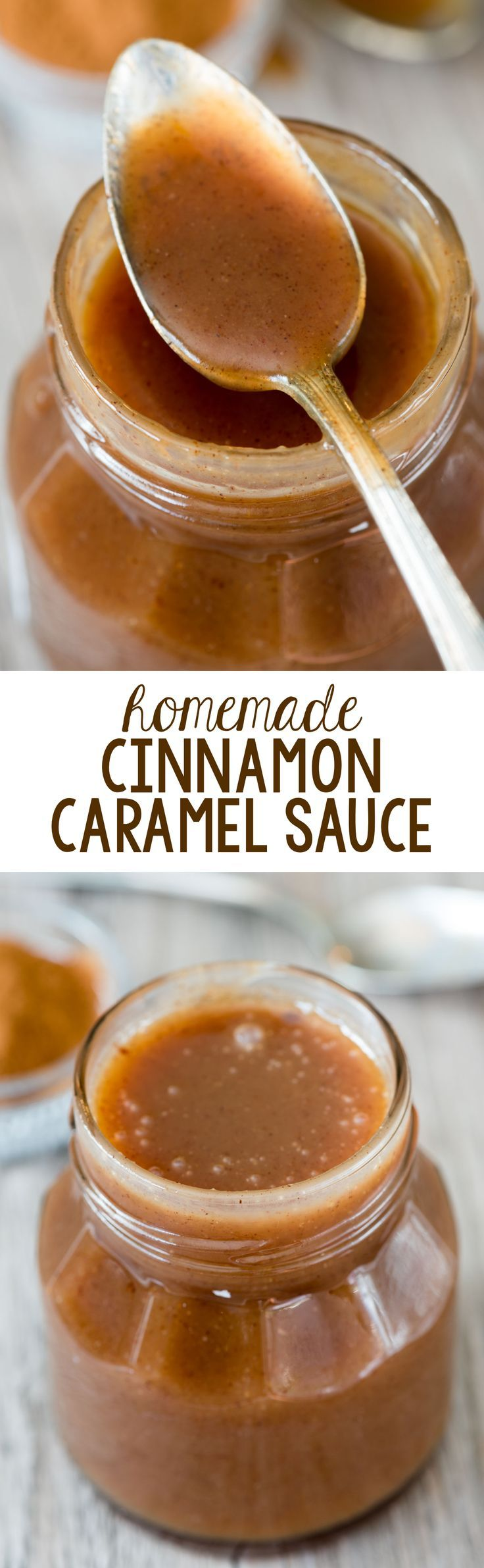 Easy Homemade Cinnamon Caramel Sauce Recipe - this caramel has just 5 ingredients and is so silky smooth and rich with the flavor of cinnamon!