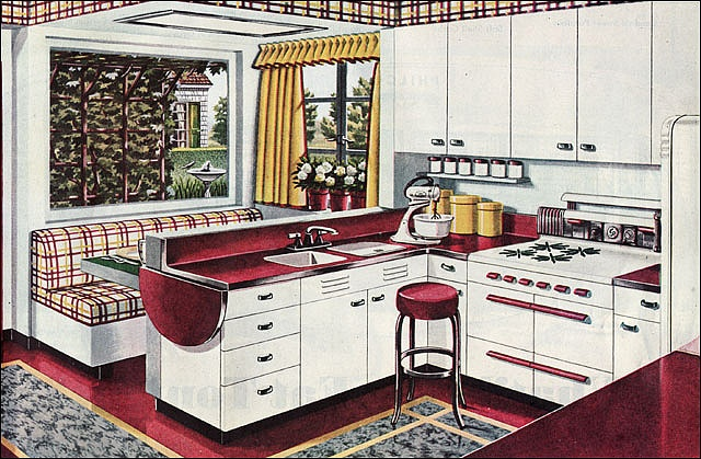 1945 American Gas Assn Breakfast Booth Kitchen by American Vintage Home, via Flickr