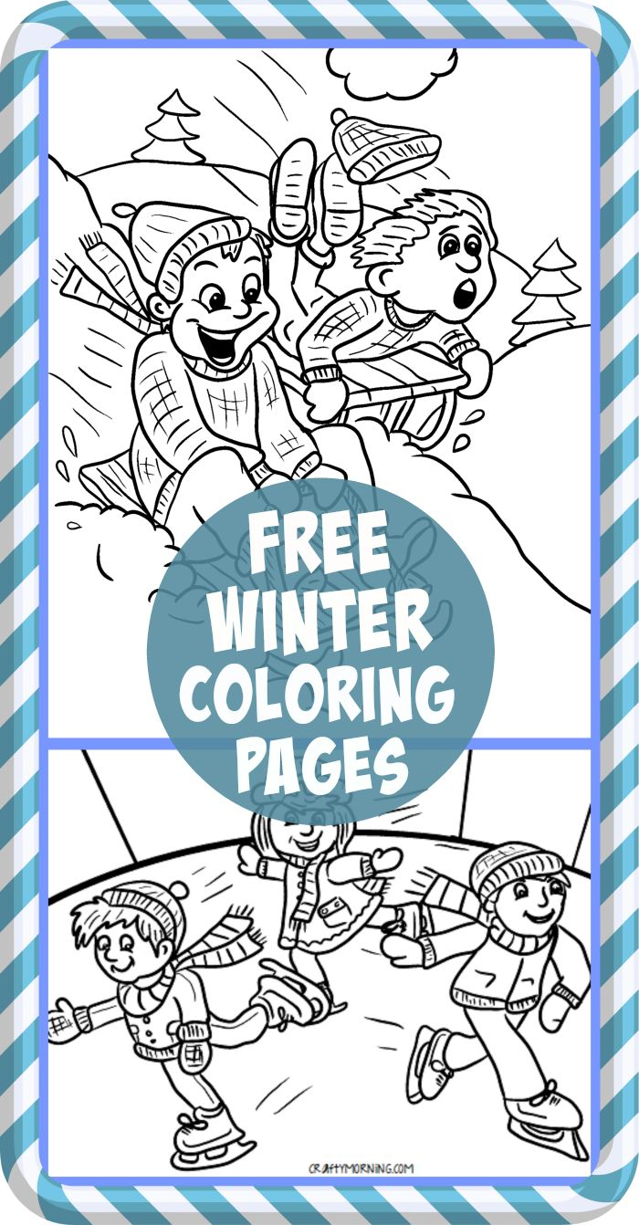 Free Printable Winter Coloring Pages for Kids! Find snowmen, kids sledding, ice skating, and more coloring sheets! | CraftyMorning.com