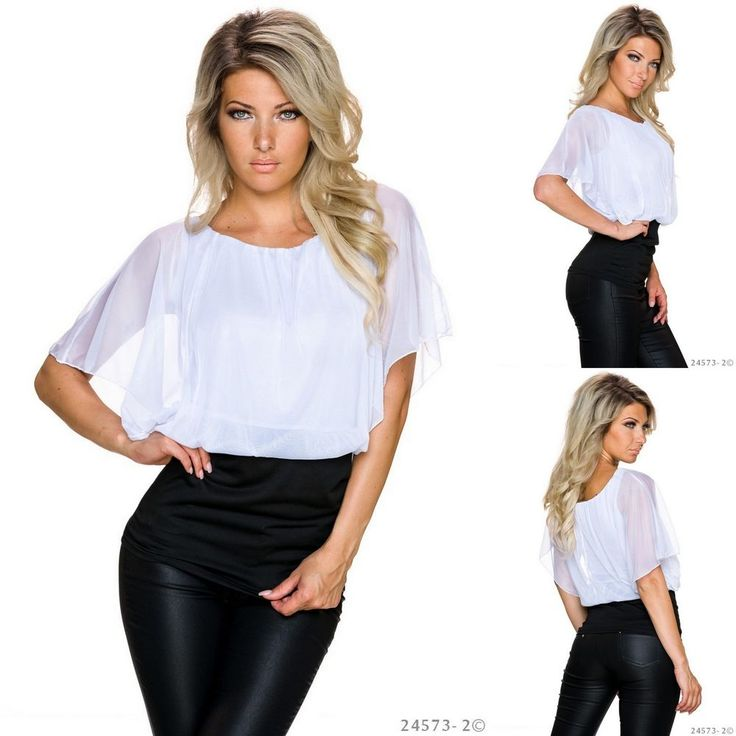 ELEGANT BLACK AND WHITE CHIFFON BATWING BLOUSE TOP 8 10 WORK OFFICE BUSINESS    eBay