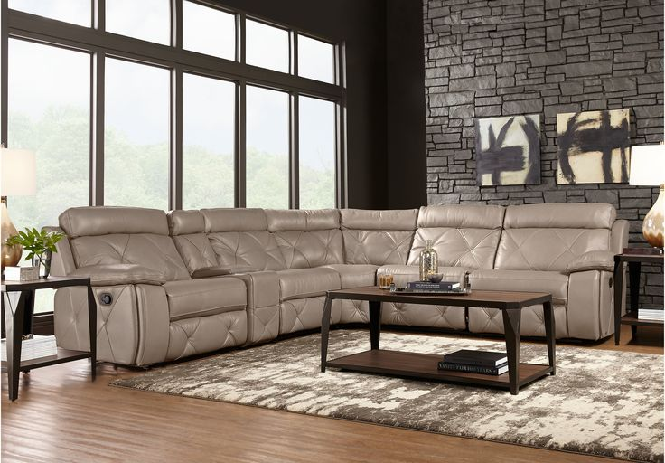 Cindy crawford home wilshire place gray leather 6 pc for 6 pc sectional living room