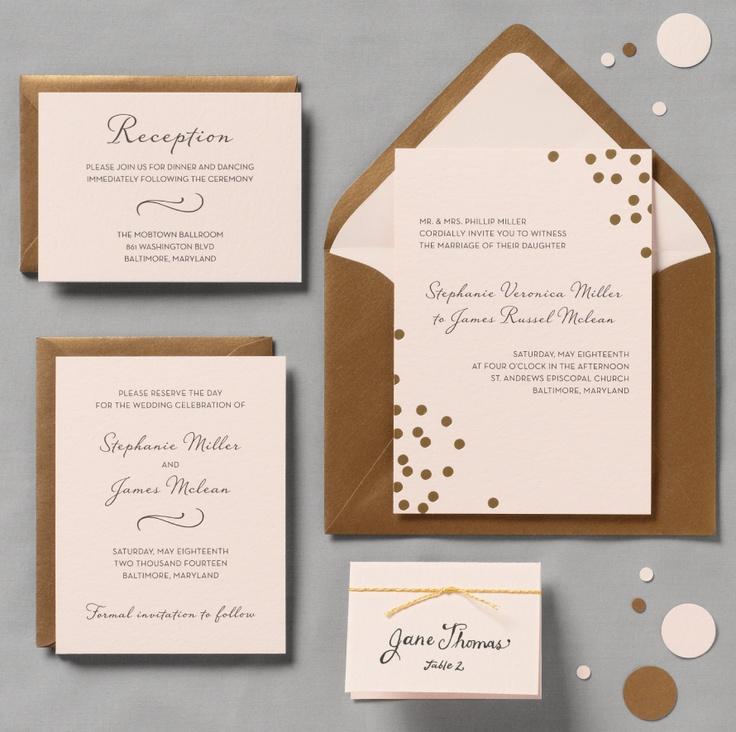 unique wedding announcement ideas%0A Gold Confetti Blush Wedding Invitation  a little playful  a little retro