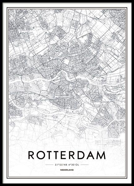 Poster met zwart-wit plattegrond van Rotterdam...