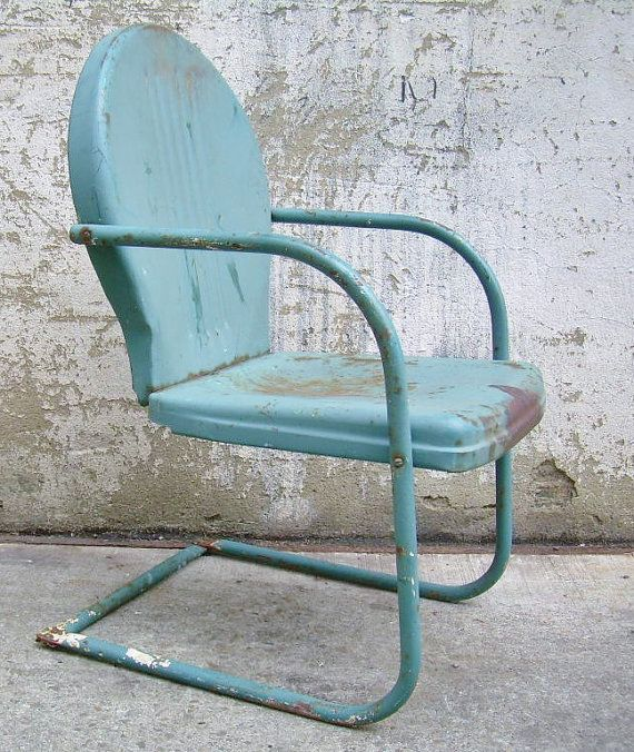 Retro Metal Lawn Chair Teal Rustic Vintage Porch Furniture Metal Lawn Chairs Lawn And Retro