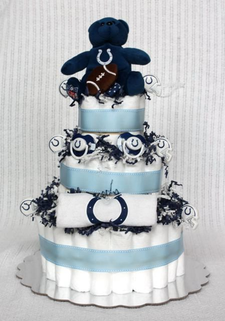 Indianapolis Colts Diaper Cake by BabyBootyDiaperCakes......if I ever have a baby, I expect to have something like this