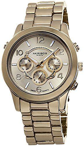 Akribos XXIV Women's Ultimate Swiss Multifunction Gold-Tone Bracelet Watch
