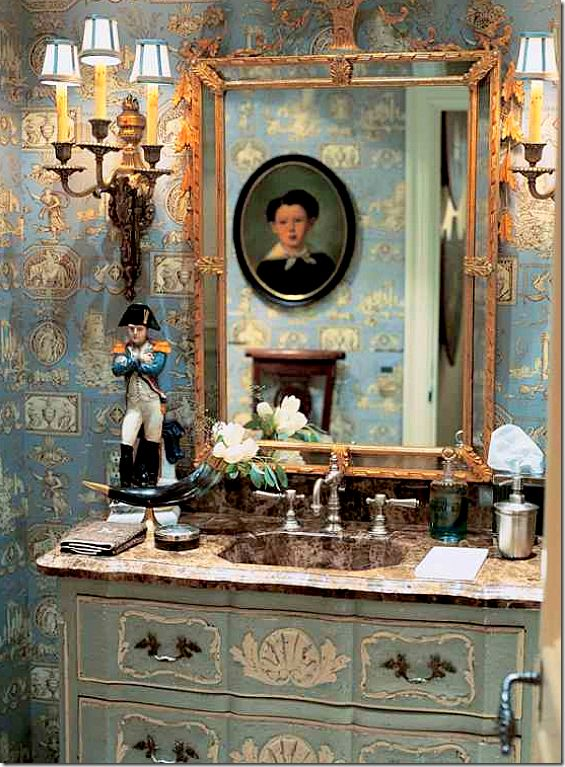 Love the way sconces are mounted one to the left of mirror, other on wall to right!  This would work in my bath!!! Charles Faudree LOVE THE WAY SCONCES ARE MOUNTED❤️❤️