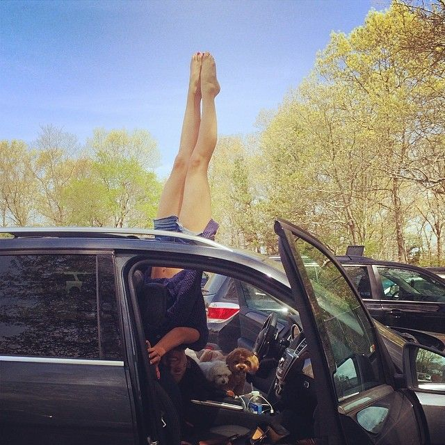 Pin for Later: 10 Unconventional Places to Practice Yoga, According to Hilaria Baldwin's Instagram In (and on) the Car