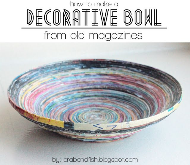 A decorative bowl made from magazine pages !  Not exactly a quick DYI project, but it would be fun on a winter weekend!