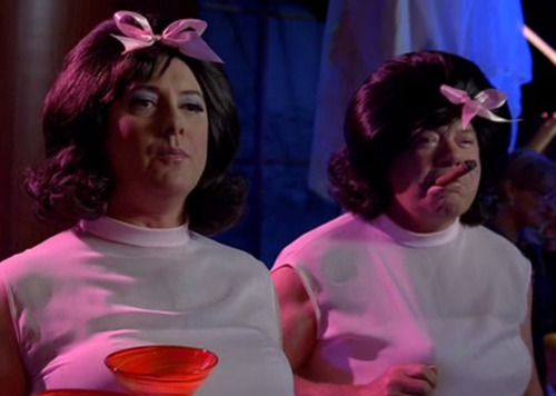 Boston Legal, episode 3x07, in which Daniel Jackson and Captain Kirk wear pink dresses for Halloween.
