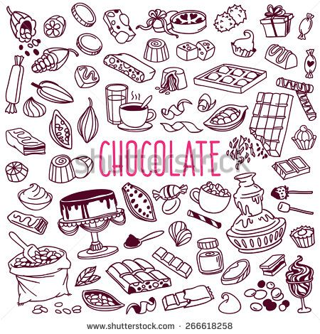 Set Of Various Doodles, Hand Drawn Rough Simple Sketches Of Different Kinds Of Cocoa And Chocolate Production. Vector Freehand Illustration Isolated On White Background. - 266618258 : Shutterstock