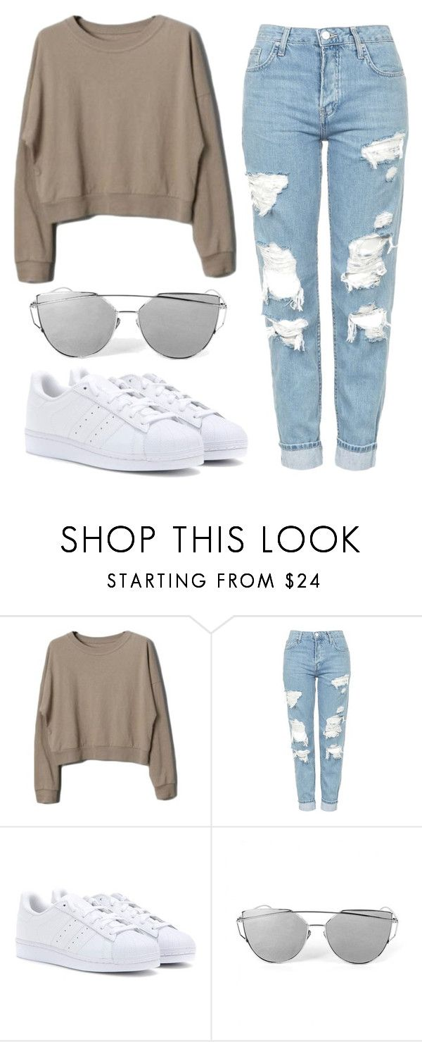 """Comfy Casual"" by nyah-king ❤ liked on Polyvore featuring Topshop and adidas"