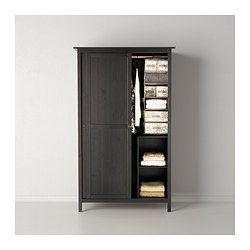 HEMNES Wardrobe with 2 sliding doors - black-brown - IKEA