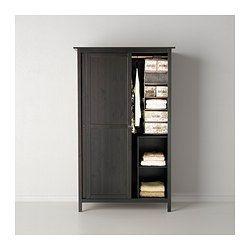 HEMNES Wardrobe with 2 sliding doors - black-brown - IKEA. 2' deep x 4' wide x 6.5' tall - $350