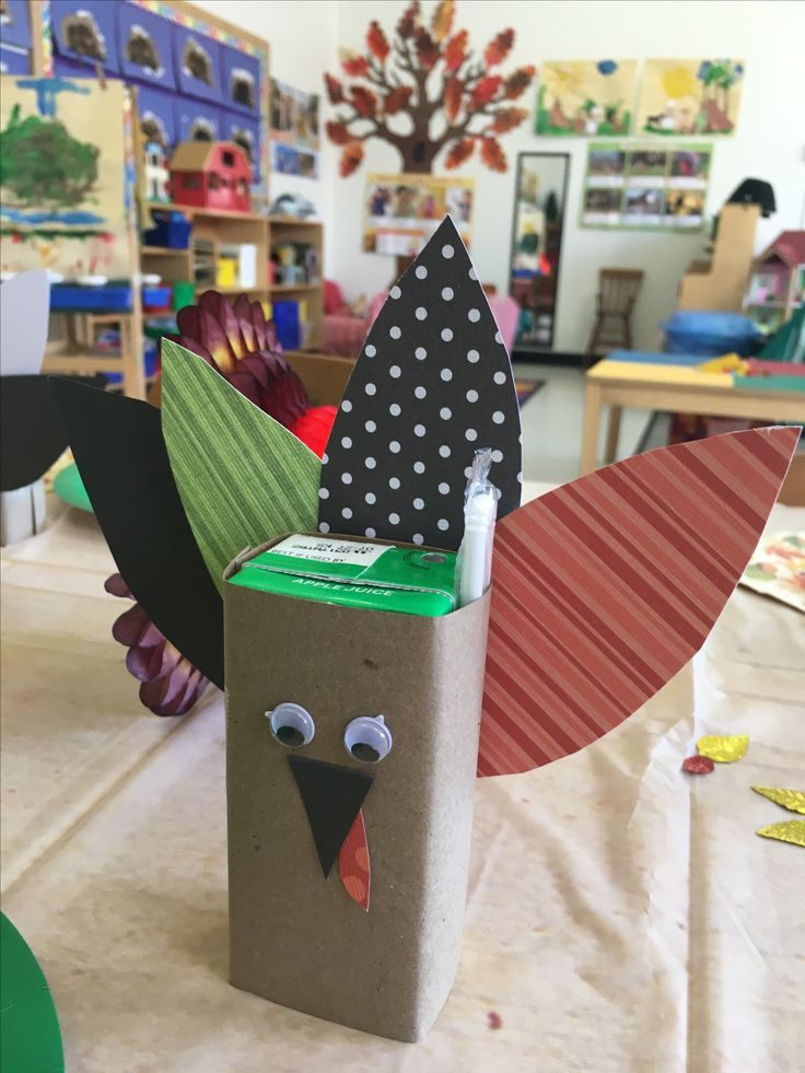 Juice box turkey with printed paper feathers